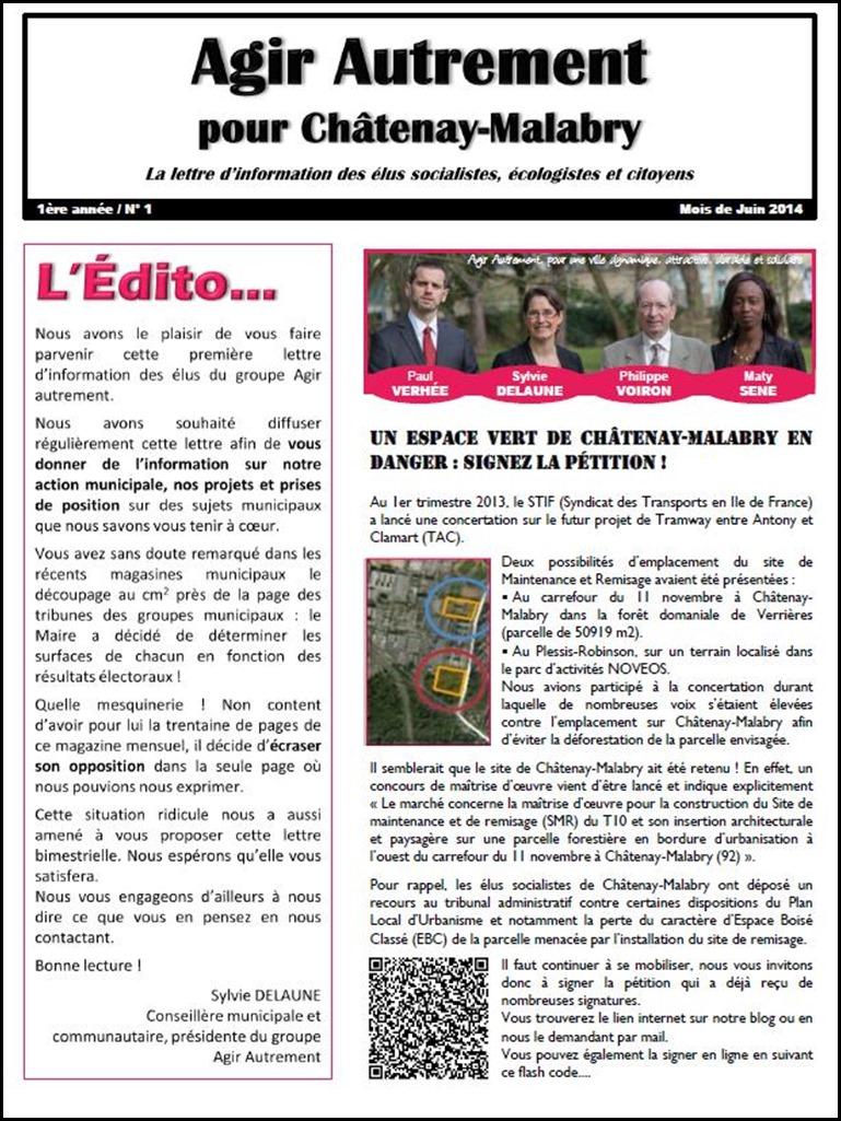 Lettre d'info n°1 - Juin 2014 - Recto