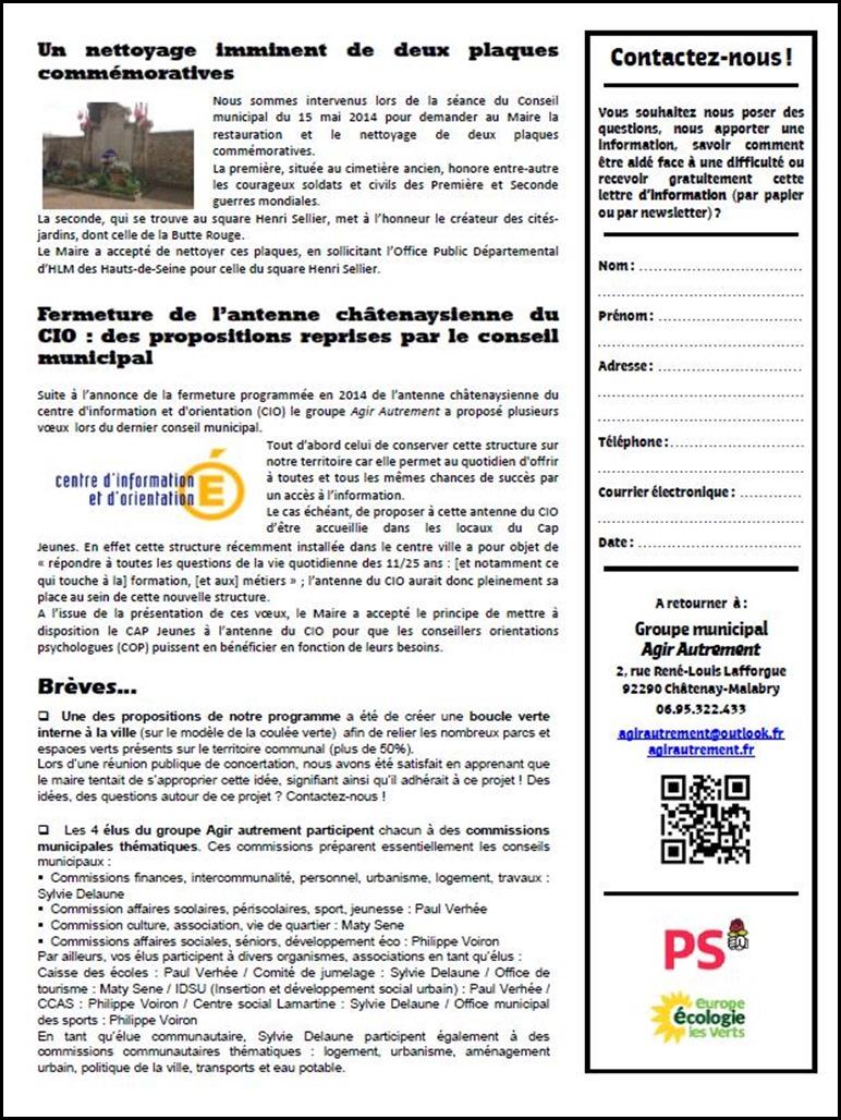 Lettre d'info n°1 - Juin 2014 - Verso